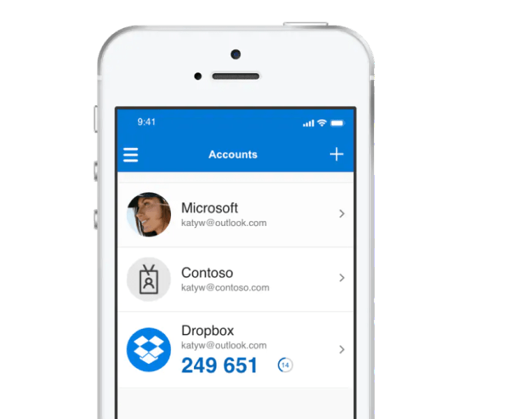 iPhone showing Microsoft's multi factor authentication product