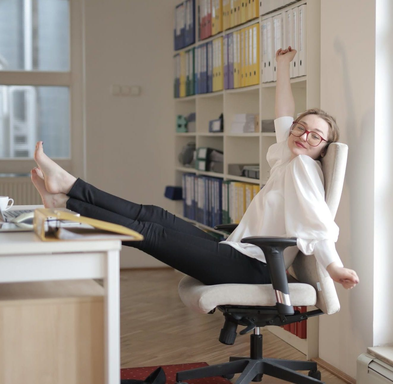 Woman relaxing in a office